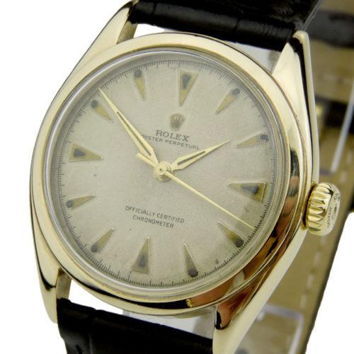 Rolex Oyster Perpetual 14k Gold Semi Bubble Back 6084