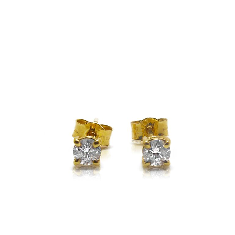 d8a99c1e2 18k White & Yellow Gold Diamond Studs 0.37 carat - Parkers Jewellers
