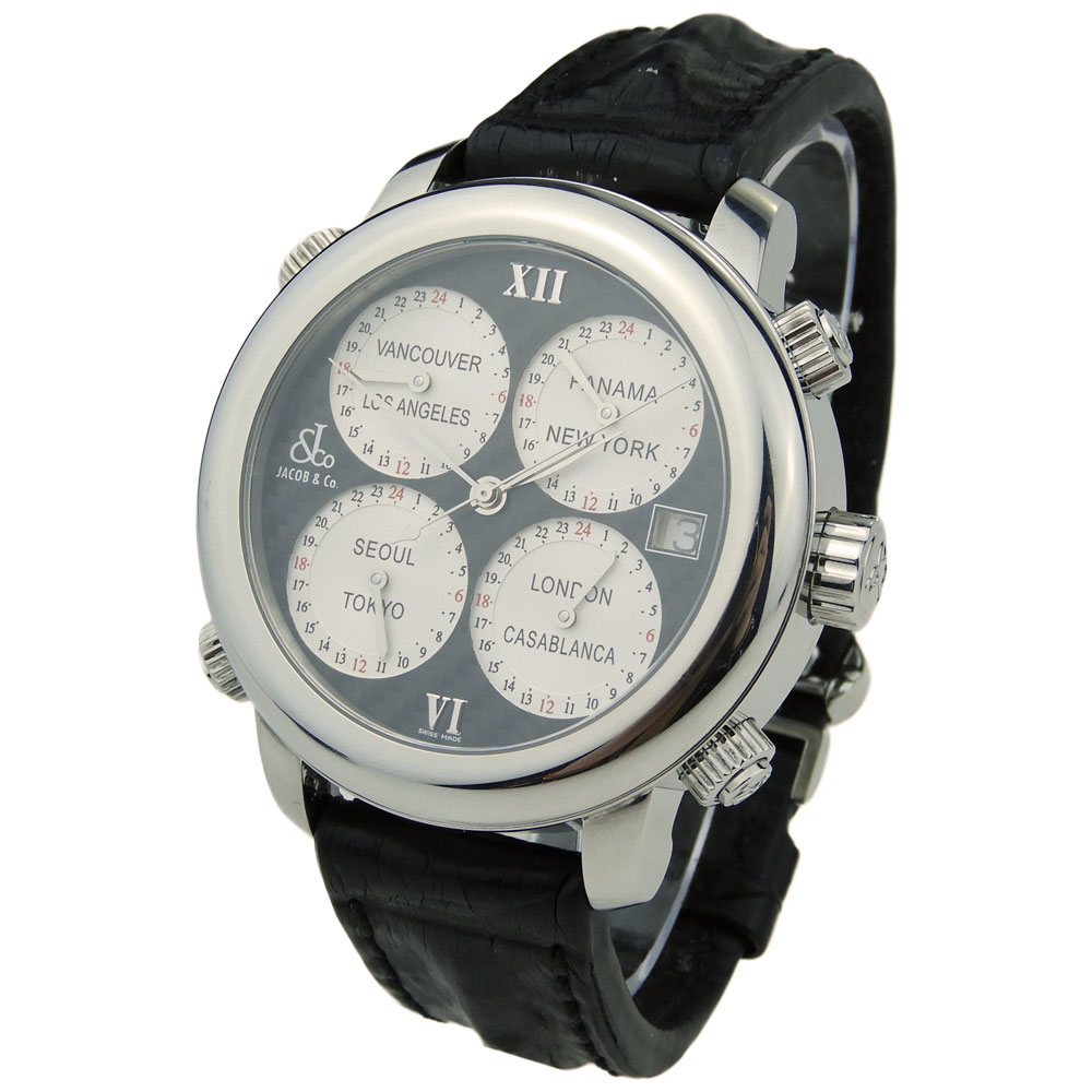 41b1b2f6c9d Jacob   Co H24 Five Time Zone Automatic H24SSCF - Parkers Jewellers