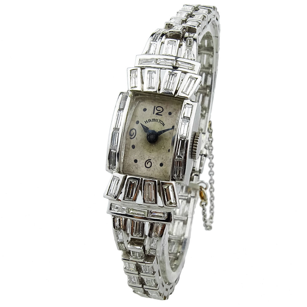 Hamilton Ladies Platinum And Diamond Art Deco Style Cocktail Watch Parkers Jewellers